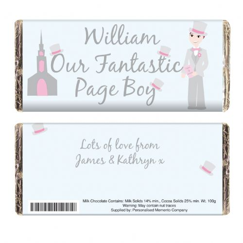 Personalised Fantastic Page Boy Chocolate Bar